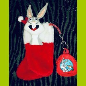 VTG Bugs Bunny Plush Christmas Stocking w/Keychain